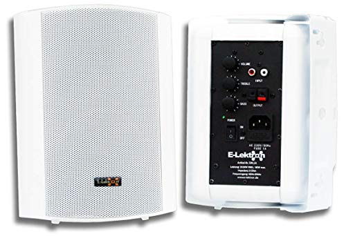 """E-Lektron EWL5A Stereo Aktiv Lautsprecher Paar inkl. Wandhalter - 5\"""" 2X 60W Weiß"""