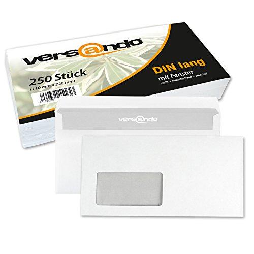 Versando - 250 Sobres para cartas, DIN-L medidas 22x11 cm color blanco con/sin ventana, cierre autoadhesivo, sobres para envío