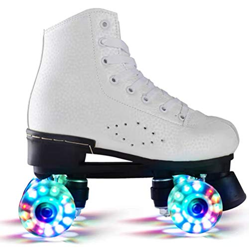 KENANLAN Wheel Rollschuhe,Roller Skates mit LED-Licht Double Line Skates 4 Wheels Two Line Skating Schuhe für Erwachsene Roller, Classic Roller, Rollschuhe für Kinder, Jugendliche und ErwachseneD