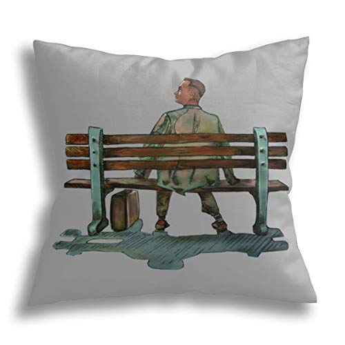 ODENO Forrest Gump, Decorative Pillow Cover Holiday Decoration Throw Cushion Case for Sofa Couch Home 18 x 18 Inches