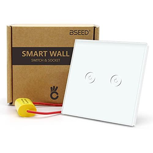 BSEED Interruptor de Sensor Táctil WIFI Inteligente de 2.4G (No Se Necesita Cable Neutro) Interruptores de Luz de Pared de Panel de Vidrio Work con Smart Life/Tuya/Google Alexa 2 Gang 1 Vía Blanco