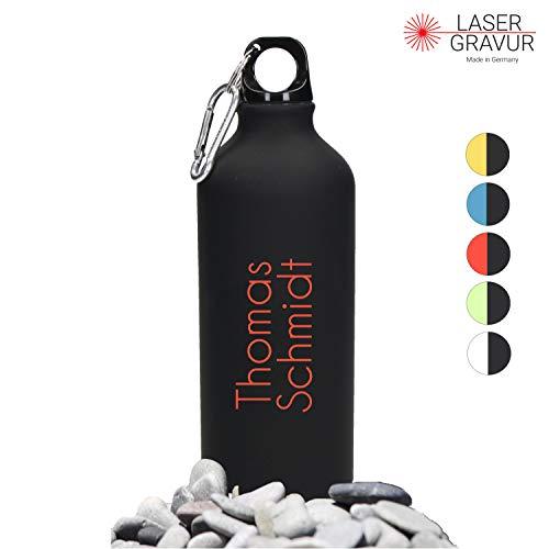 Personalisierte Trinkflasche mit Namen 0,6 L aus Aluminium Kohlensäuregeeignet inkl. Farbgravur - Auslaufsichere Wasserflasche BPA-Frei - Sportflasche mit Wunschgravur (Black-Red)
