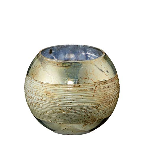 Cepewa Windlicht Teelicht Glas Gold Shabby Vintage Teelichthalter Bauernsilber Mandala (rund klein)