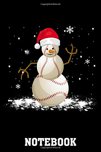 Christmas Baseball, Baseball Snowman Christmas Notebook: (110 Pages, Lined paper, 6 x 9 size, Soft Glossy Cover)