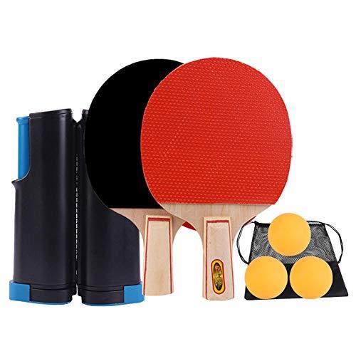 KFRS Red De Tenis De Mesa Retráctil, Juego De Raquetas De Tenis De Mesa Portátiles, Redes De Tenis De Mesa para Adultos Y Niños, Juegos De Interior/Exterior-Azul Negro