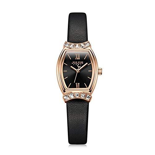CHENDX Forma Femenina Fashion Watch Classic Barrel en Forma de Barril Grandes de Diamante Relojes Impermeables Relojes de Las señoras (Color : Black)