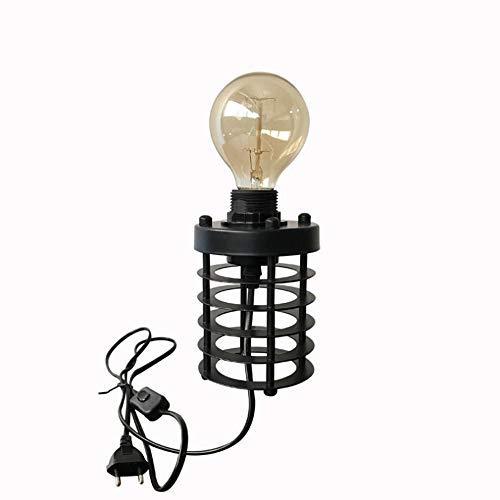 Retro Style Zylinderform Tischlampe Dekorative Nachttischlampe Nachttischlampe Batteriebetriebene Eisen Art Schreibtischlampe LED Drahtleuchten für Schlafzimmer Wohnzimmer E27 Sockel