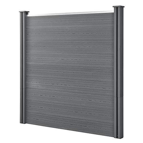 neu.holz] WPC Gartenzaun mit Pfosten 180x180cm Grau Sichtschutz Windschutz Lamellenzaun Zaun