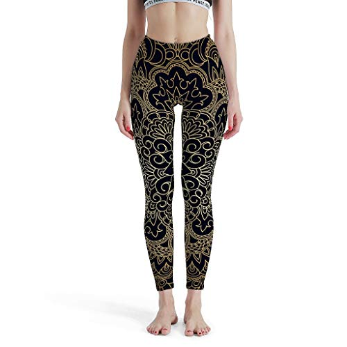 Zhcon Damen Indianer Yoga Hose Yoga Leggings Lang Kompressionswirkung und Quick-Dry-Funktion Flower Muster Jogginghose Push up