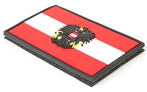 STEINADLER - Bandera de Austria de PVC, Parche de Velcro como Emblema para ejército, Uniforme y Chaqueta, Bandera con Escudo de Austria