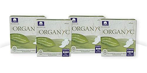 Organyc Serviettes hygiéniques de nuit avec des ailes–100% coton bio, lot de 4 (4x 10)