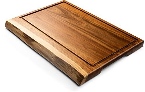 Style de Vie - Tabla de cortar (madera de acacia, borde natural y canal, 50 x 35 x 3 cm)