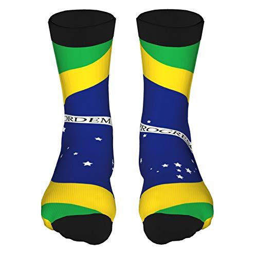 QUEMIN Bandera de Brasil Pintura Arte Impreso Divertido Novedad Animal Casual Algodón Crew Calcetines 15.7 pulgadas