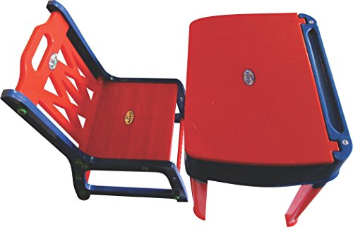 Pihu Enterprises Study Table And Chair Set With Storage For Kids-Red Ans Blue,Plastic