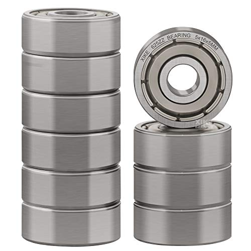 XiKe 10 Pcs 625ZZ Double Metal Seal Bearings 5x16x5mm, Pre-Lubricated and Stable Performance and Cost Effective, Deep Groove Ball Bearings.