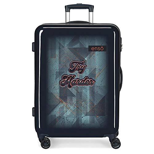 Enso Try Harder Medium Blue Suitcase 48 x 68 x 26 cm Rigid ABS Side Combination Closure 70L 2.7 kg 4 Double Wheels