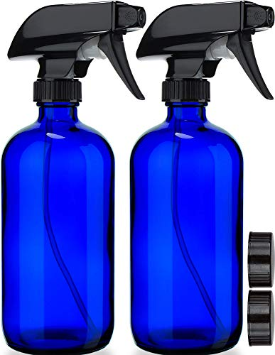 Empty Blue Glass Spray Mist Bottles Refillable (2 Pack)