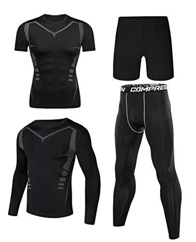 Ducomi Conjunto de 4 Piezas de Chándal de Compresión para Hombre - Camiseta de Manga Corta y Larga con Forma de Cuerpo Elástico Pantalón Corto - Gimnasio Conjunto para Corer - Negro Gris - 3XL