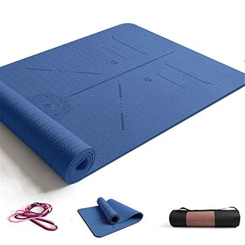 ZBK Esterilla de yoga de 8 mm de grosor, antideslizante, línea de postura, esterilla de yoga, esterilla de fitness, 183 x 68 x 0,8 cm, 5 colores