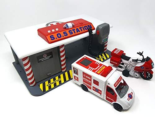 Brigamo Spielzeug Rettungsstation mit Martinshorn, Sirene und Miko, Krankenwagen und Motorrad