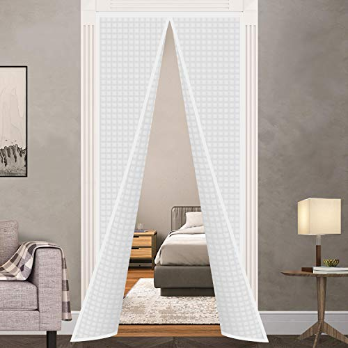 "Insulated Door Curtain, Thermal Magnetic Self-Sealing Door Screen Winter Stop Draft Keep Cold Out Door Cover for Kitchen, Bedroom, Air Conditioner Room,Hands Free, Fits Doors up to 37"" x 82"", White"