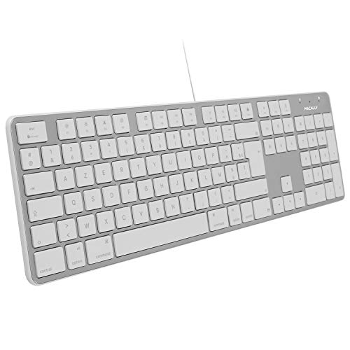 Macally - Teclado USB ultrafino con teclado numérico para Mac Alambrico USB y con teclado numérico para Apple Pro, MacBook Pro/Air,...