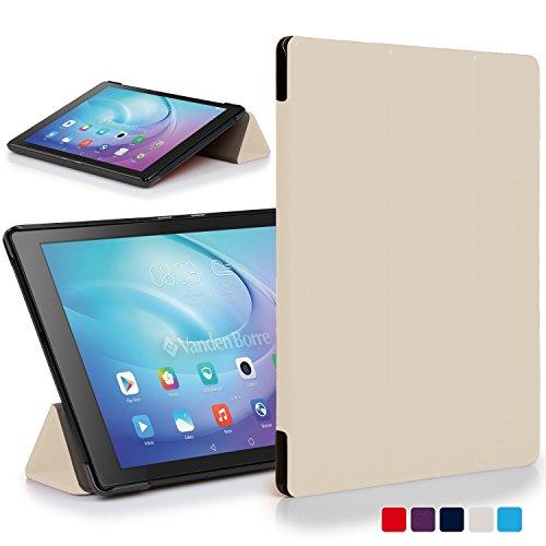 Forefront Cases Huawei MediaPad T2 10.0 Pro Funda Carcasa Stand Smart Case Cover Protectora Plegable – Ultra Delgado Ligera Protección Completa Dispositivo con Función Auto Sueño Estela (Blanco)