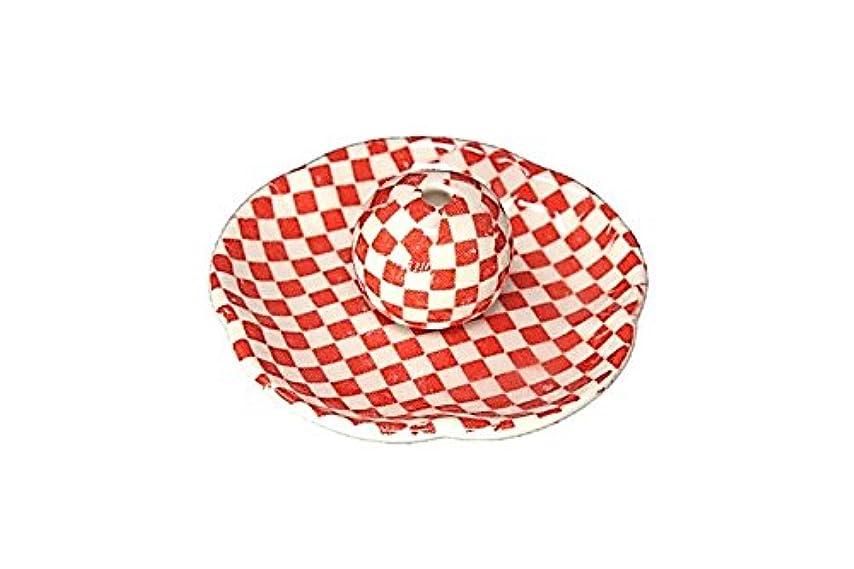 考えた効果的伴う市松 赤 花形香皿 お香立て 日本製