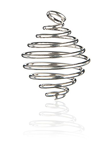 TEMPELWELT Anhänger Metall Spirale Ø 23 mm Silber, Halter zum Einhängen von Rohkristall Trommelstein Kristalle Rohstein Naturstein