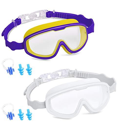 TopSelect - Gafas de natación para niños (2 unidades, 3 a 15 años), impermeables, visión amplia, protección UV antivaho y antifugas, marco de silicona suave y correa (azul oscuro/blanco)