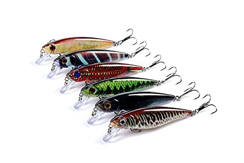 6本の釣りルアーバストップウォータールアー、8.6cm / 9.1g塩水釣りミノールアー、人工釣り餌キットとバスルアー淡水トップウォーターベイト…