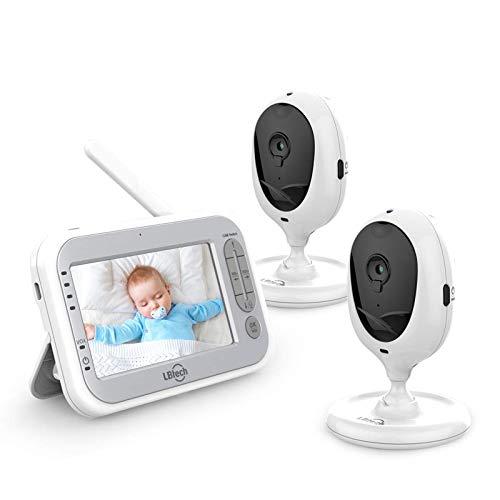 """JSLBtech Video Babyphone mit Kamera Video Überwachung Baby Monitor und 4,3\"""" LCD Bildschirm, Automatischer Nachtsicht, Gegensprechfunktion, Temperaturüberwachung, Energiesparen/Vox (2 Kameras)"""