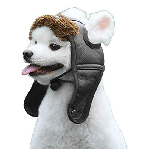 NON Sombrero de Piloto para Mascotas Gorros de Traje de Invierno con Forro Polar de Cuero de Aviador para Perros Y Gatos con Agujeros para Las Orejas para Perros Pequeños Medianos