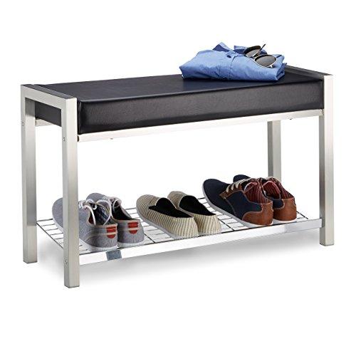 Relaxdays Metall, gepolsterte Sitzbank mit Schuhablage, Kunstleder, Garderobenbank HxBxT: 47x80x31...