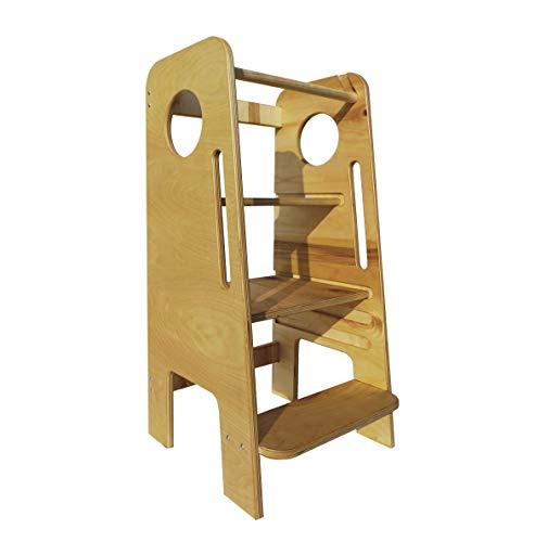 Frutti di Bosco - Learning Tower - Torre Montessoriana - in legno di Betulla trasformabile in seggiolone, ripiani regolabili in altezza, Prodotta in Italia.