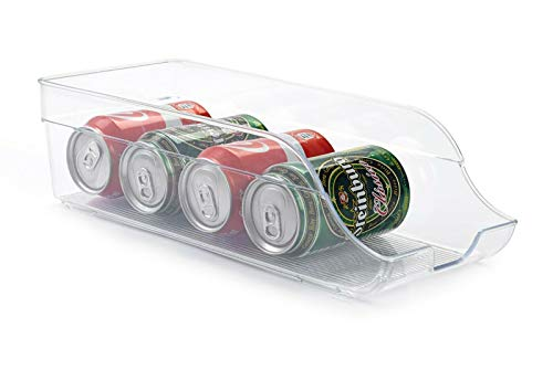 PlasticForte FRIDGE ORGANISER CLEAR PLASTIC STORAGE REFRIGERATOR DRINKS CANS FRUIT VEG HOLDER (35.5 x 15 x 10 cm)