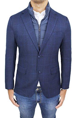 Giacca Cappotto Uomo Sartoriale Blu Quadri Formale Elegante Invernale con Gilet Interno (XXXL)