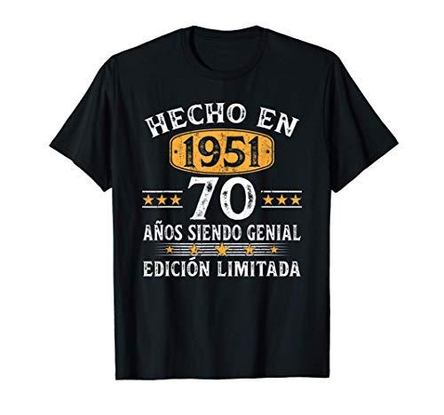 70 Años Cumpleaños Regalo Para Hombre Mujer Hecho En 1951 Camiseta
