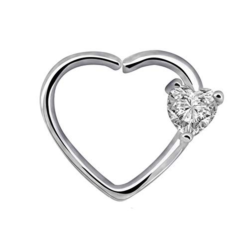 PULABO Heart Cubic Zirconia Inlaid Heart Shaped Nose Hoop Ear Ring Women Piercing Jewellery Sturdy and Practical Novel Durable