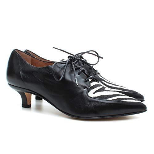 POMME D'OR Damen Ferse Schuhe 4543 Glove Nero Pony Leder Schwarz