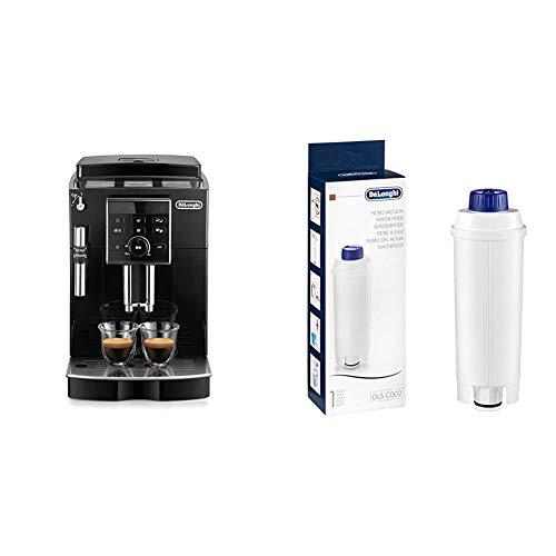 De'Longhi ECAM 25.120.B Kaffeevollautomat mit Profi-Milchaufschäumdüse für Cappuccino, Großer 1,8 Liter, schwarz & Original Wasserfilter DLSC002 - Zubehör für De'Longhi Kaffeevollautomaten, weiß
