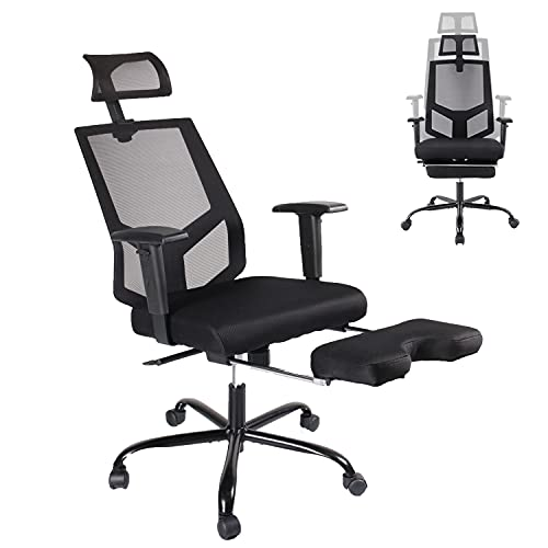 Office Chair Mesh Executive Chair Adjustable Armrest/Headrest Rotating Chair with Footrest Lounge...