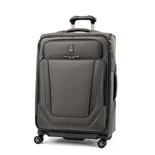 Travelpro Crew Versapack Softside Expandable Spinner Wheel Luggage, Titanium Grey, Checked-Medium 25-Inch