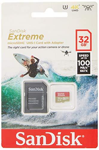 SanDisk Extreme microSDHC 32 GB UHS-I Speed Class 3. Bis zu 100 MB/s, 60 MB/S schreiben, Class 10 Speicherkarte mit SD Adapter