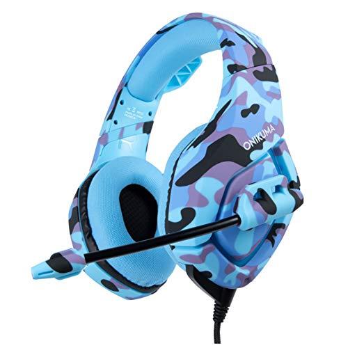 JXH Camouflage Cuffie, 50mm subwoofer, Soft Microfono, Full Surround riduzione del Rumore, Adatto a telefoni cellulari, Computer, Computer Portatili, PS4, Xbox One, Mobile Tablet,Blu