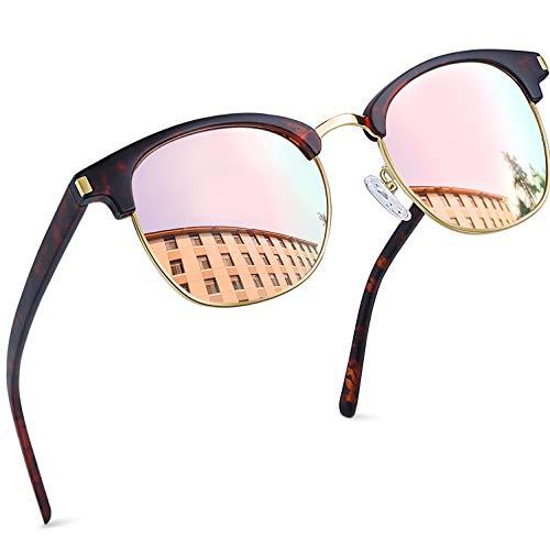Joopin Gafas de Sol Polarizadas Hombre Media Montura con Protección UV400 Clásicas Retro Gafas para Hombre y Mujer Rosa