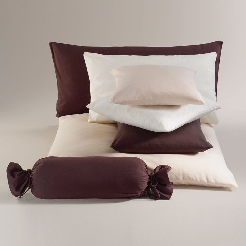 Schlafgut - Funda de almohada cervical de algodón, 100 % algodón, pardo, funda de cojín 40 x 40 cm
