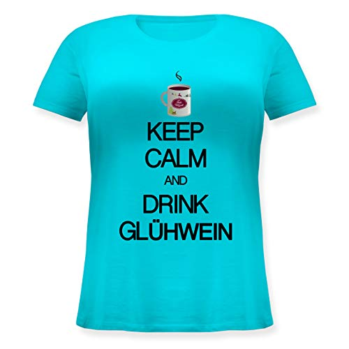 Keep Calm - Keep Calm and Drink Glühwein - 48 Große Größen - Hellblau - Fun - JHK601 - Lockeres Damen-Shirt in großen Größen mit Rundhalsausschnitt