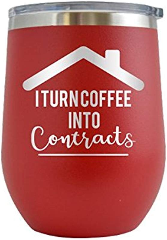 I Turn Coffee Into Contracts Real Estate Realtor Engraved 12 OzWine Tumbler Cup Glass Etched Funny Gifts For Him Her Mom Dad Husband Wife Red 12 Oz