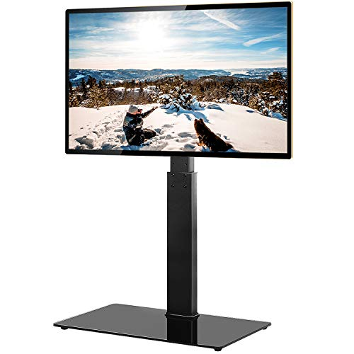 TAVR Universal Floor TV Stand Base with Swivel Height Adjustable Mount for 32 37 42 47 50 55 60 65 inch Plasma LCD LED Flat or Curved Screen TVs,Tempered Glass Base for Media Storage